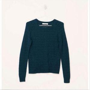 Loft Wavy Pointelle Long Sleeve Sweater XS Green